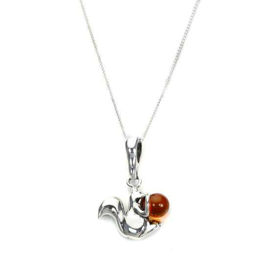 Sterling Silver & Baltic Amber Squirrel Pendant