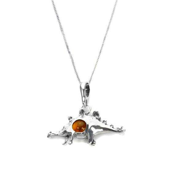 Sterling Silver & Baltic Amber Dinosaur Pendant - 16 - 22 Inches