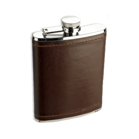 6oz Stainless Steel Burgundy Brown Leather Hip Flask