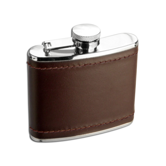 4oz Stainless Steel Deep Burgundy Leather Hip Flask