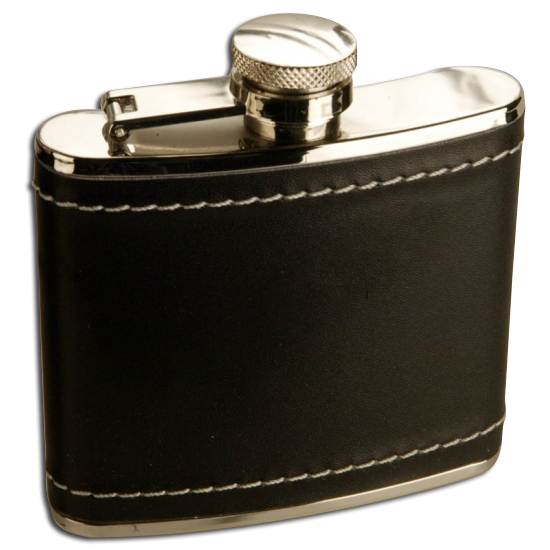 4oz Stainless Steel Black Leather Hip Flask