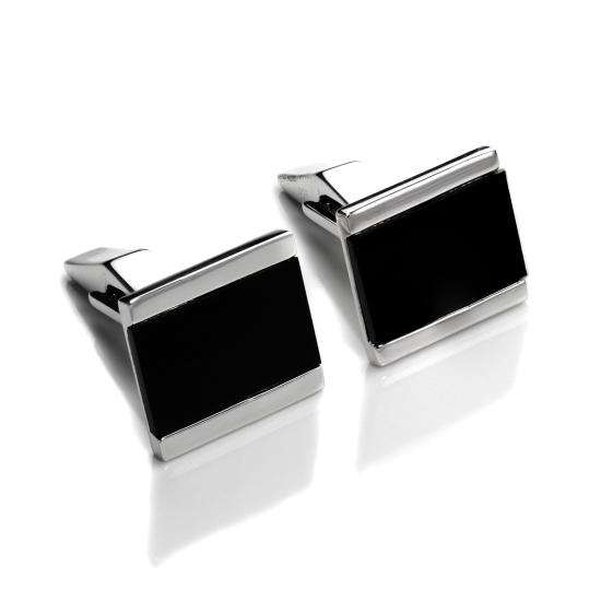 Sterling Silver Set Onyx Rectangular Swivel Back Cufflinks