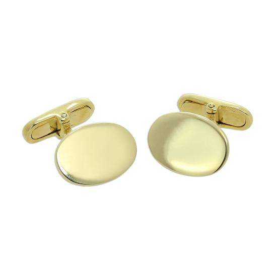 9ct Gold Engravable Oval Swivelback Cufflinks