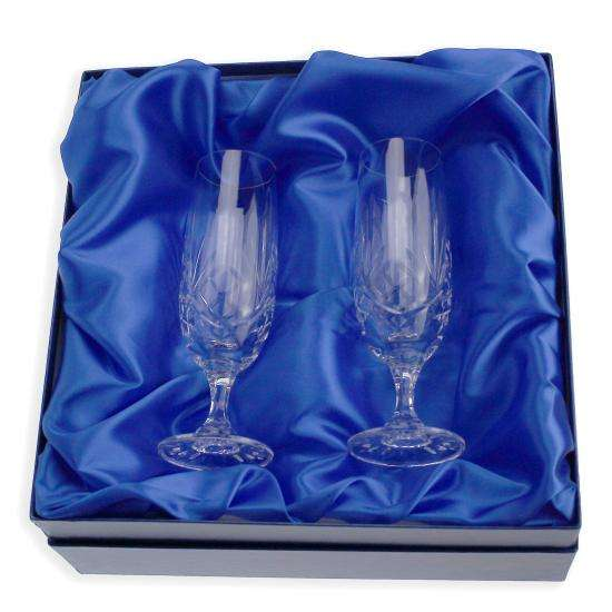Pair of Engravable Glass Champagne Flutes