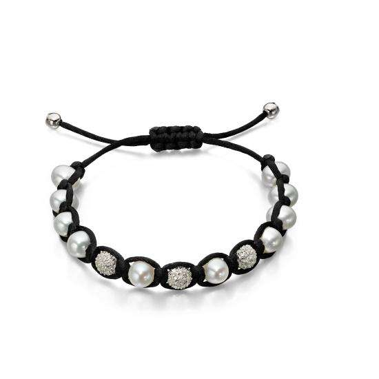 Black Cord Bracelet with Freshwater Pearls and Cubic Zirconia Beads