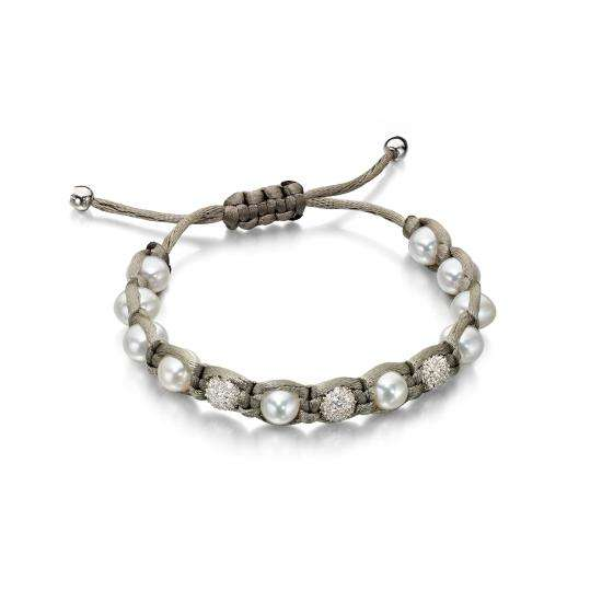 Grey Cord Bracelet with Pearls and Sterling Silver Beads