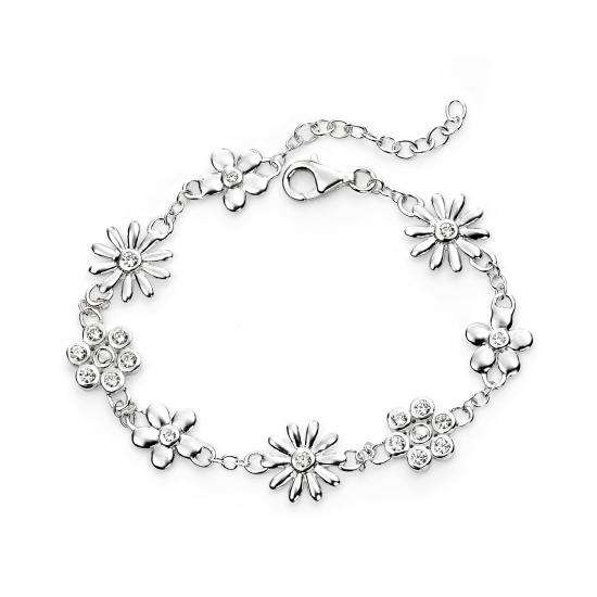 Sterling Silver and Cubic Zirconia Flower Bracelet