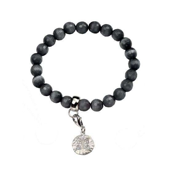 Catseye Stretch Grey Bracelet with Cubic Zirconia Butterfly Charm