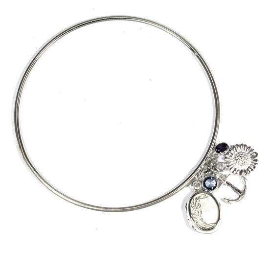 Locket Cluster Bangle with Anchor, Sunflower, Blue & Purple Cubic Zirconia Charms