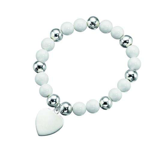 White & Silver Shell Stretchy Bead Bracelet with Heart Charm
