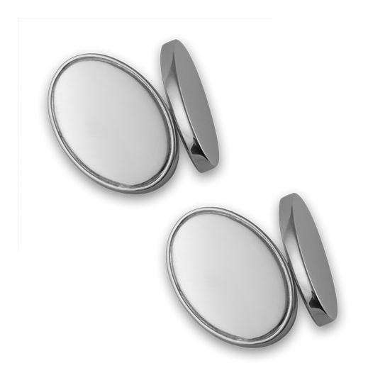 Sterling Silver Doublesided Oval Cufflinks