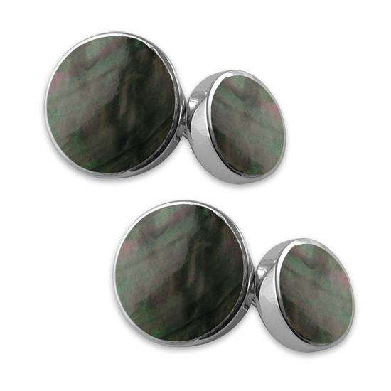 Sterling Silver Cufflinks With Black Mother Of Pearl