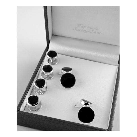 Sterling Silver Onyx Shirt Stud And Cufflink Set