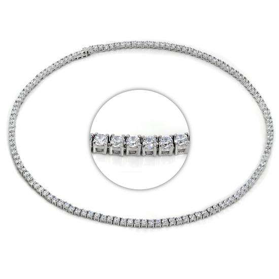 Sterling Silver & CZ Crystal 17 Inch Tennis Collette Necklac