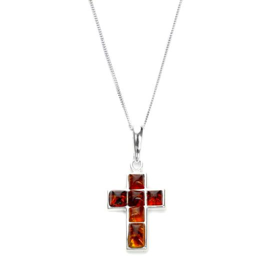 Sterling Silver & Baltic Amber Cross Pendant - 16 - 22 Inches