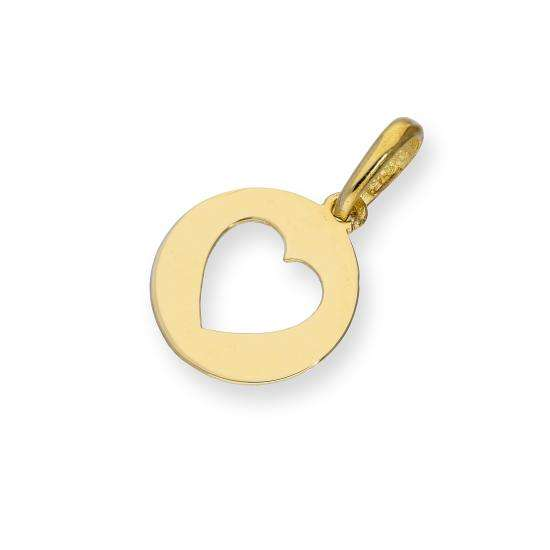 9ct Gold Round Charm w Cut Out Heart
