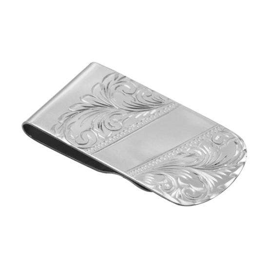 Sterling Silver Broad Engraved Money Clip