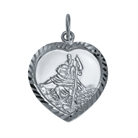 Sterling Silver St Christopher in Love Heart