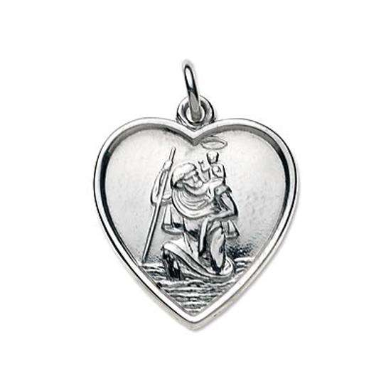 Sterling Silver Saint Christopher Embossed Heart Pendant