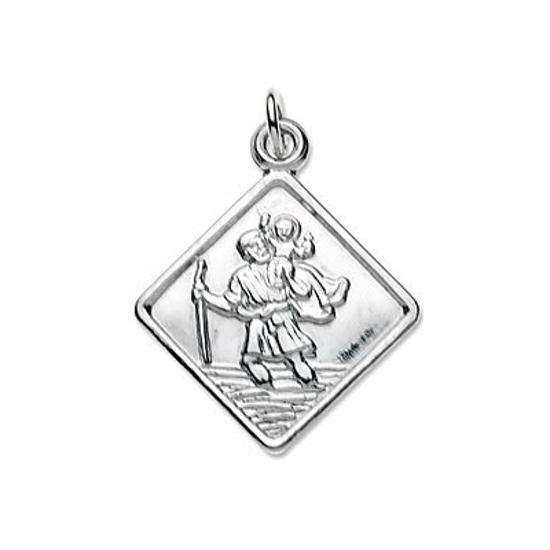 Sterling Silver Small Square Saint Christopher Pendant