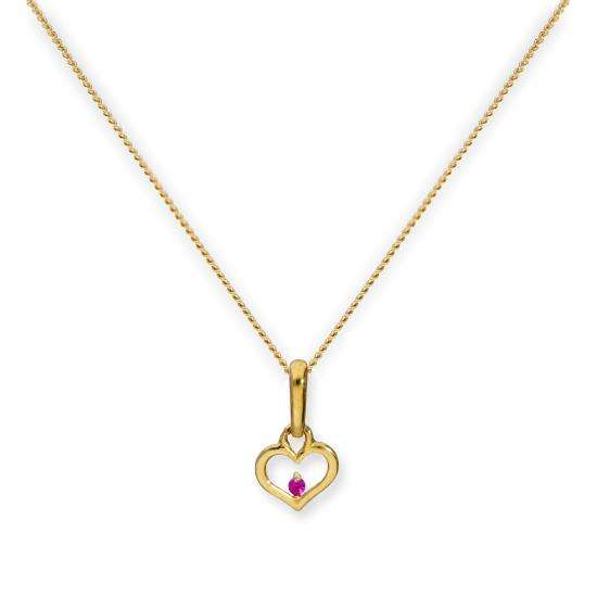 9ct Gold Heart Outline w Ruby CZ Crystal Pendant on Chain 16 - 20 Inches