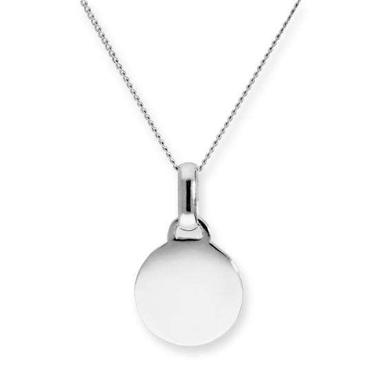 9ct White Gold Engravable Round Pendant on Chain 16-20 Inches