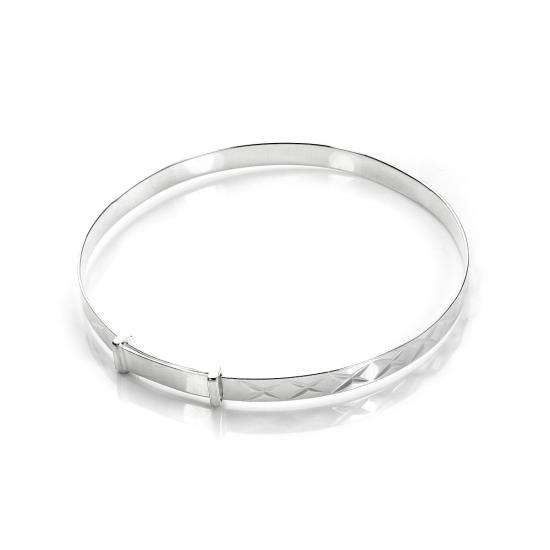 Sterling Silver Diamond Cut Kisses Expandable Baby Bangle