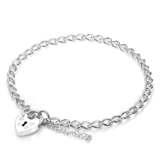 9ct white gold heart padlock charm bracelet sayerslondon com
