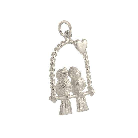 9ct White Gold Lovebirds Charm