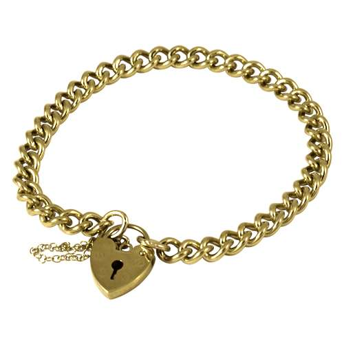 An image of Hollow Closed Curb Gold Charm Bracelet