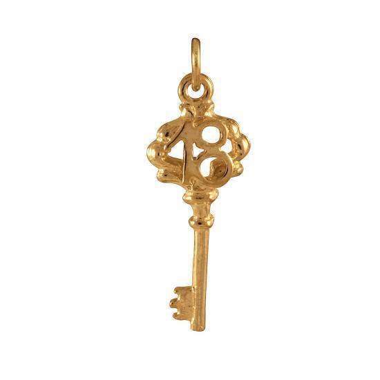 9ct Gold 18th Birthday Key Charm
