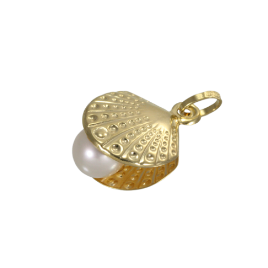 9ct Gold Shell With Pearl Charm