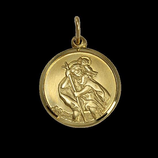 9ct gold st christopher pendant