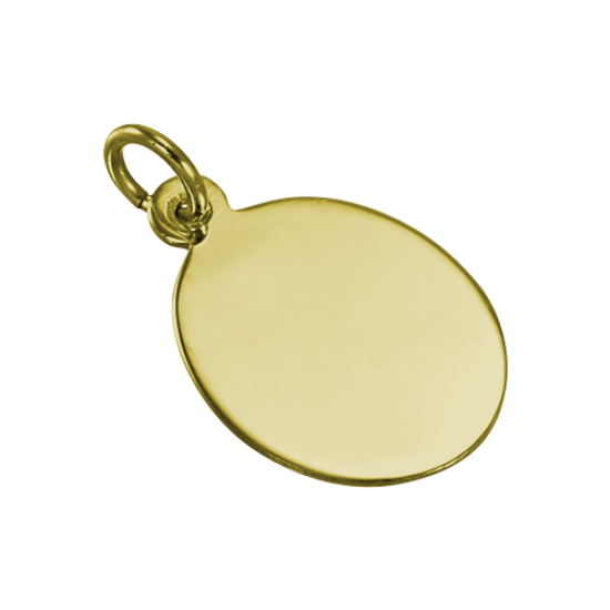 9ct Gold Engravable Oval Pendant