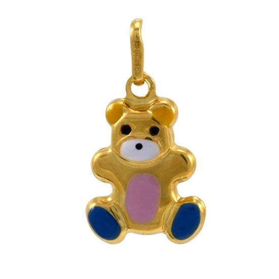 9ct Hollow Gold Enamelled Teddy Charm