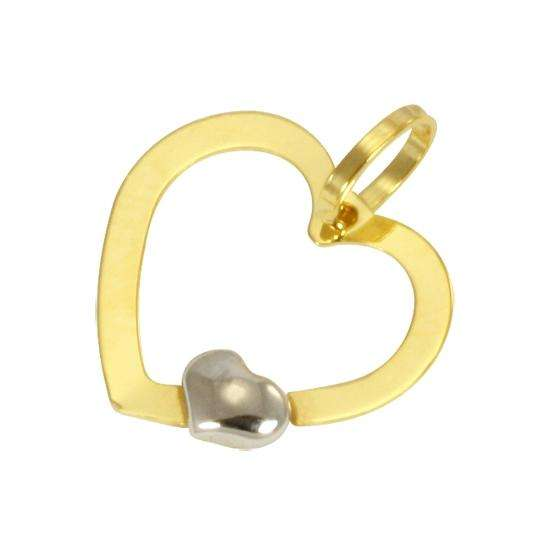 9ct Yellow Gold Heart Cut Out Charm