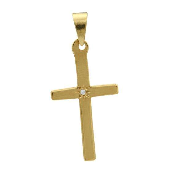 9ct Gold Large Cross With Diamond Pendant
