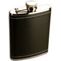 6oz Stainless Steel Black Leather Hip Flask