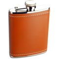 6oz Stainless Steel Tan Leather Hip Flask