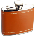 4oz Stainless Steel Tan Leather Hip Flask