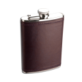 8oz Stainless Steel Deep Burgundy Leather Hip Flask