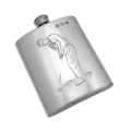 Handmade 6oz Pewter Golfer Hip Flask