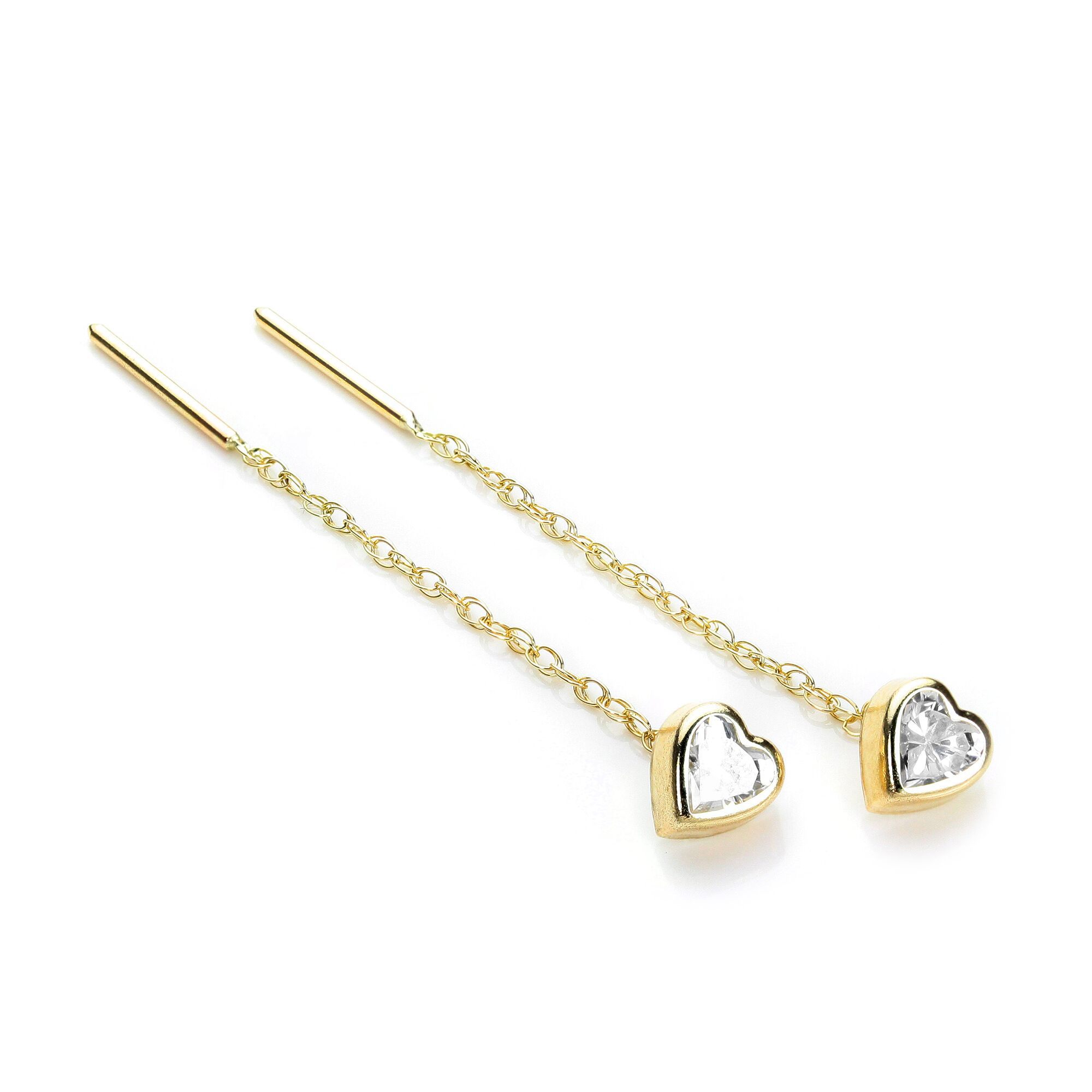 An image of 9ct Gold 5mm Heart Shaped CZ Crystal Rubover Pull Thru Earrings