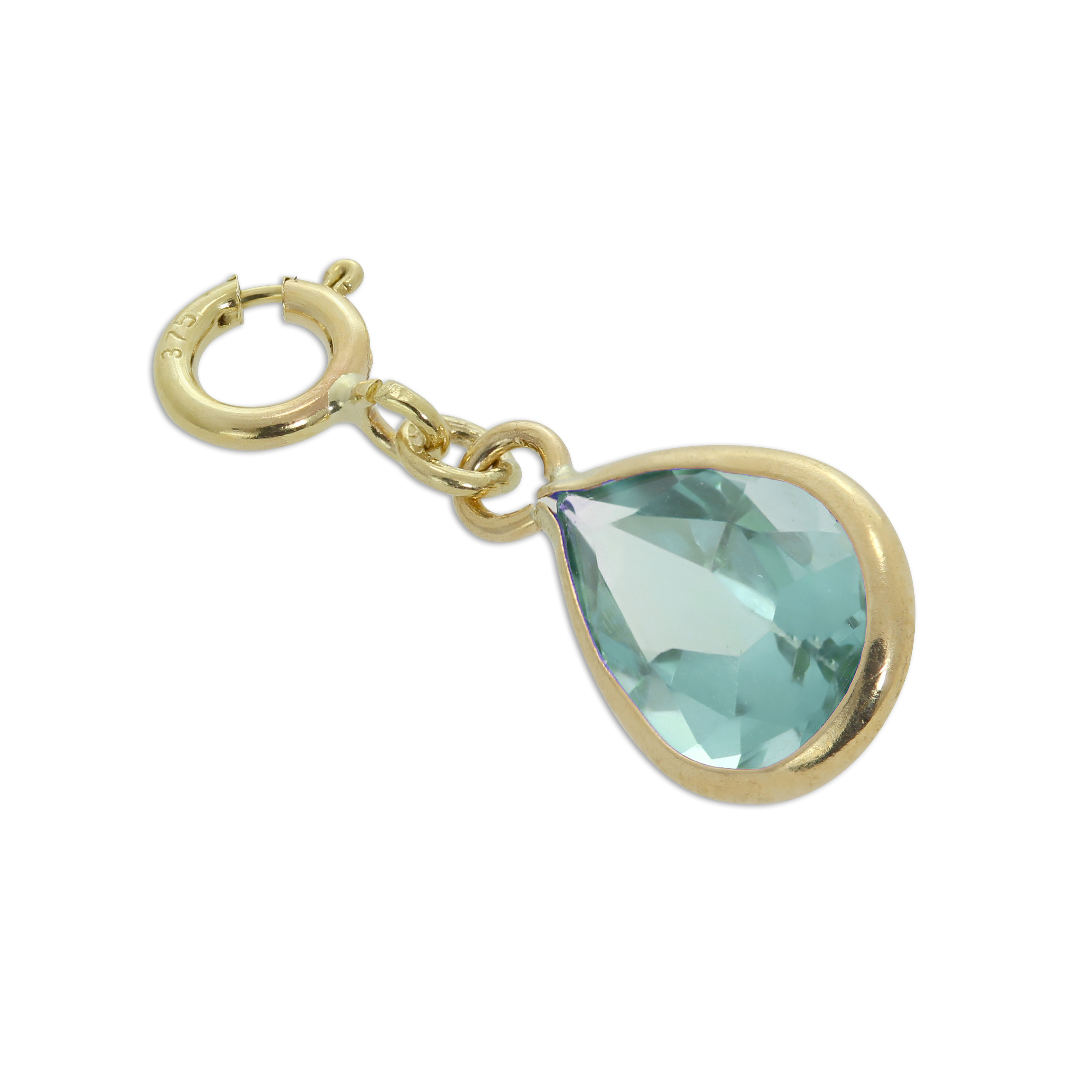 An image of Large 9ct Gold Aquamarine CZ Oval Clip on Charm