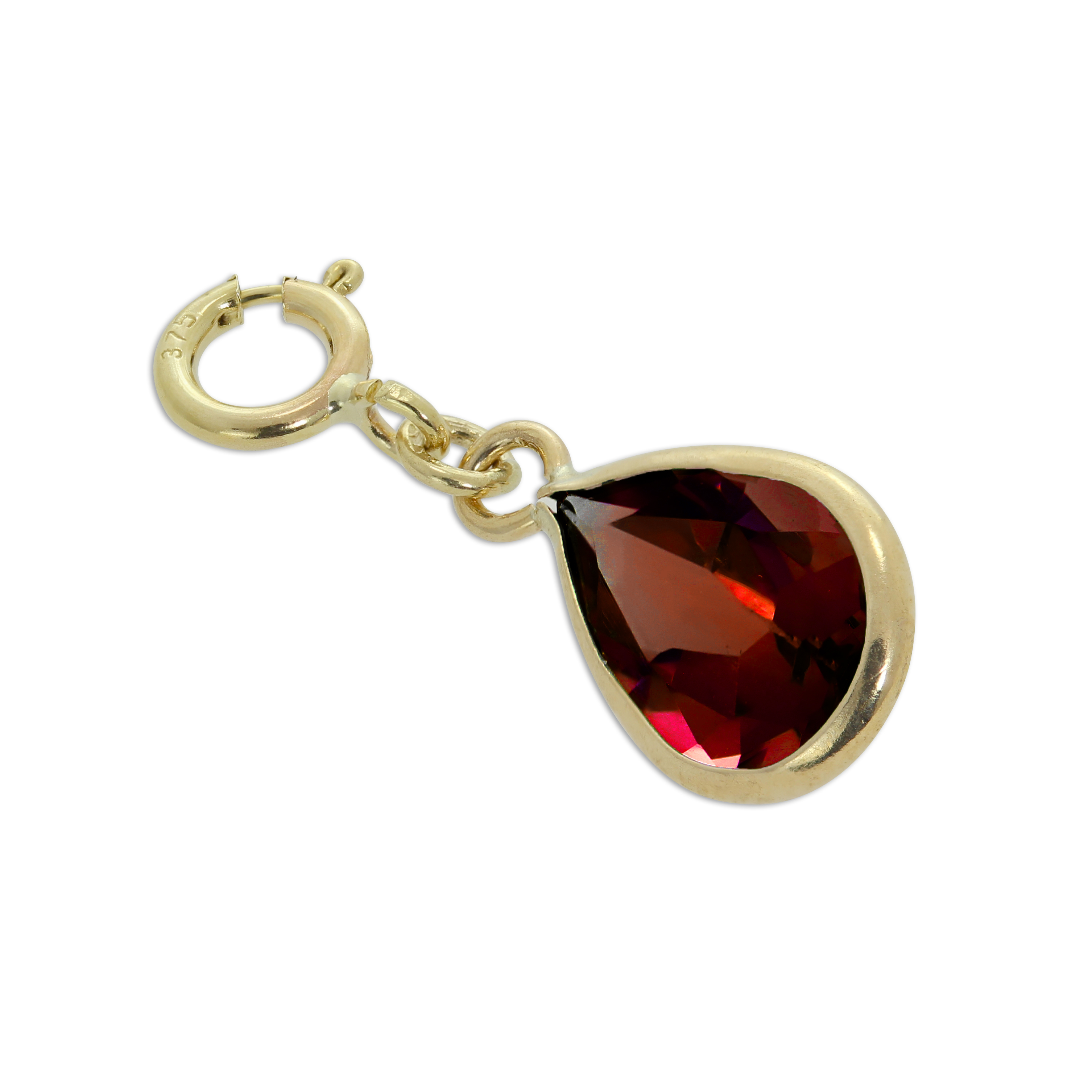 An image of Large 9ct Gold Garnet CZ Teardrop Clip on Charm