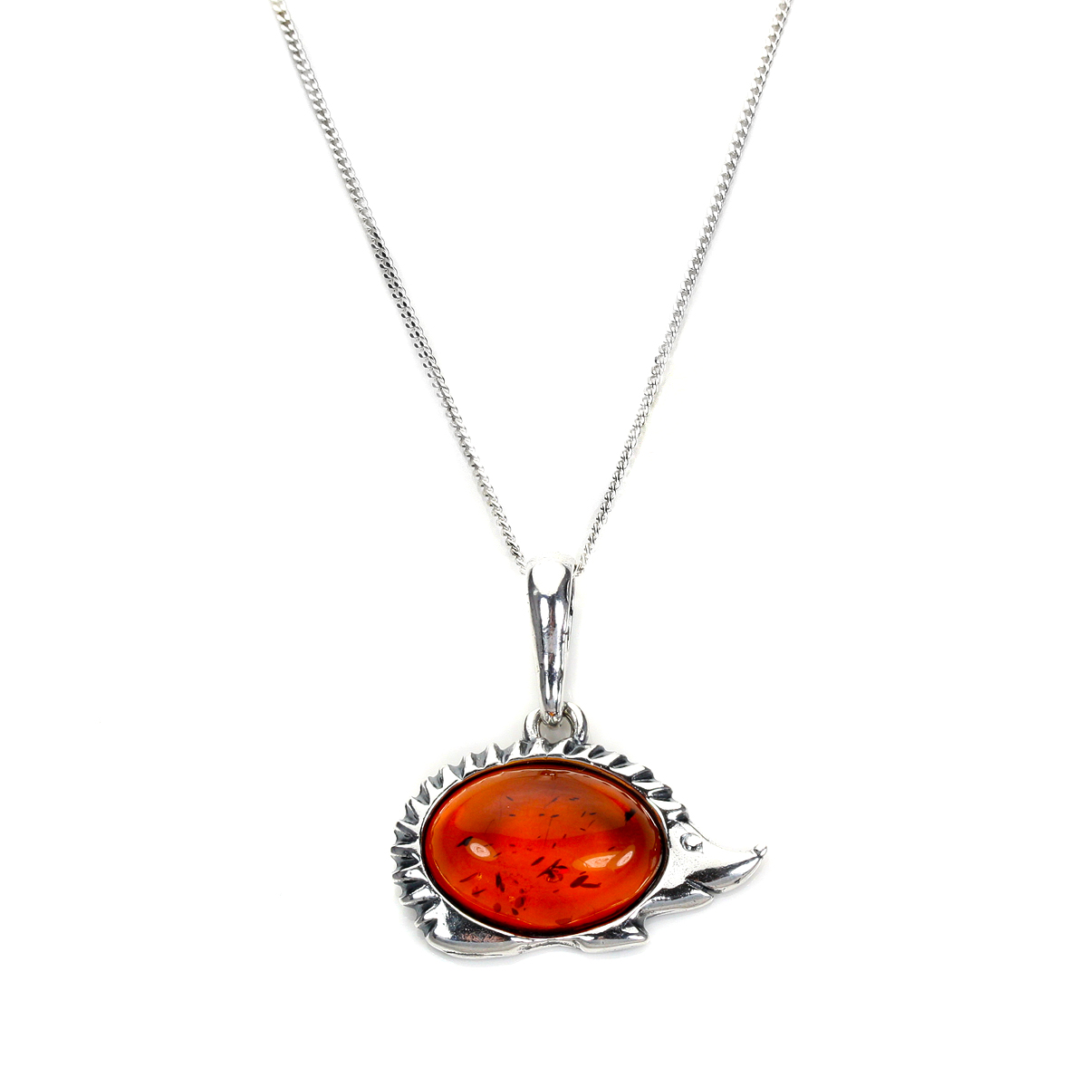 An image of Sterling Silver Baltic Amber Hedgehog Pendant on 14 Inch Chain