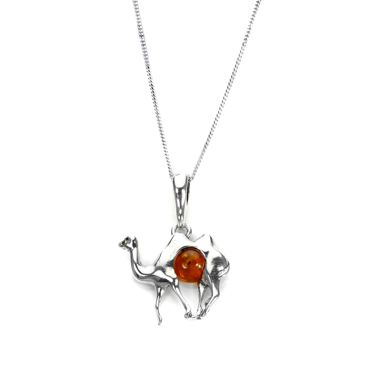 An image of Sterling Silver Baltic Amber Camel Pendant