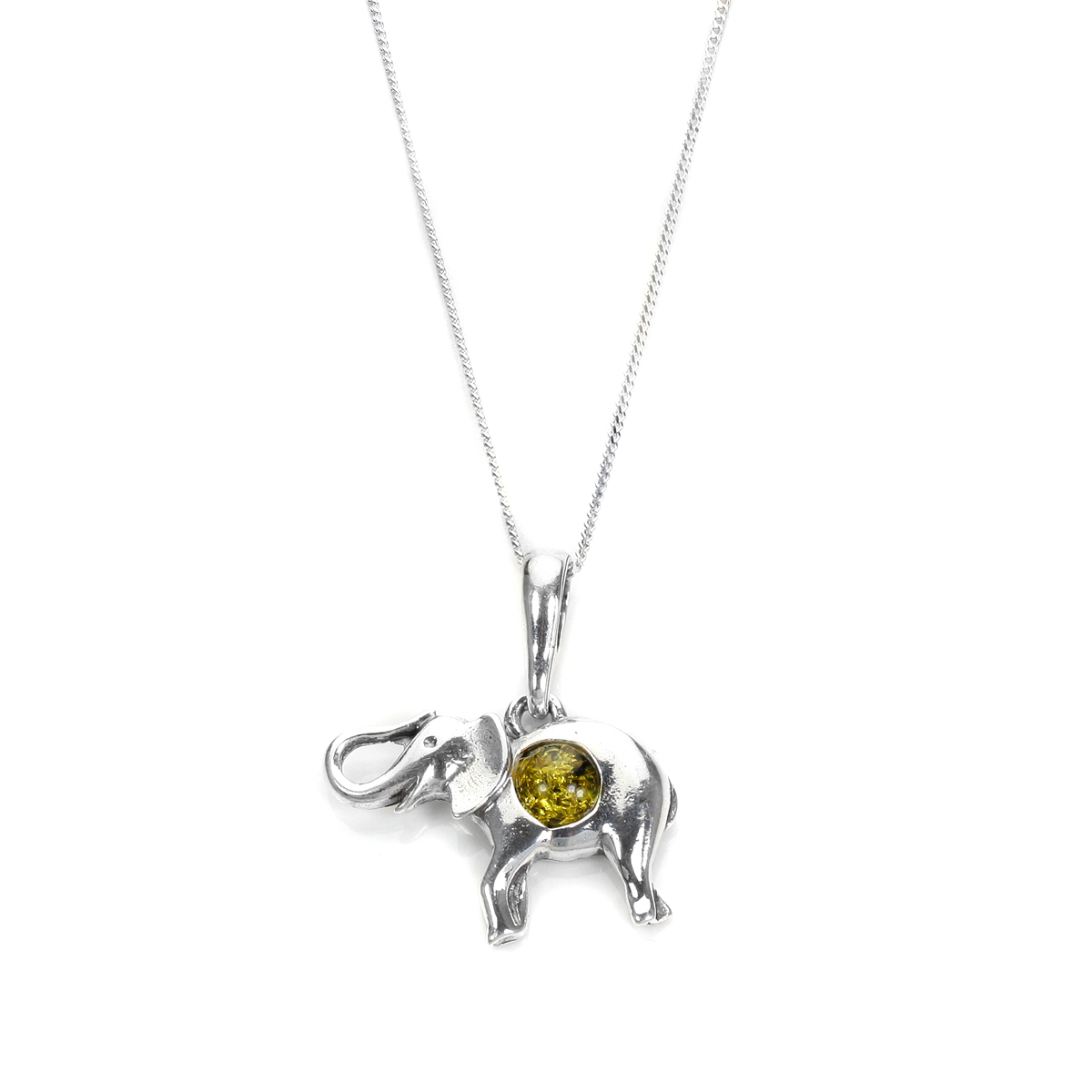 An image of Sterling Silver Baltic Amber Elephant Pendant