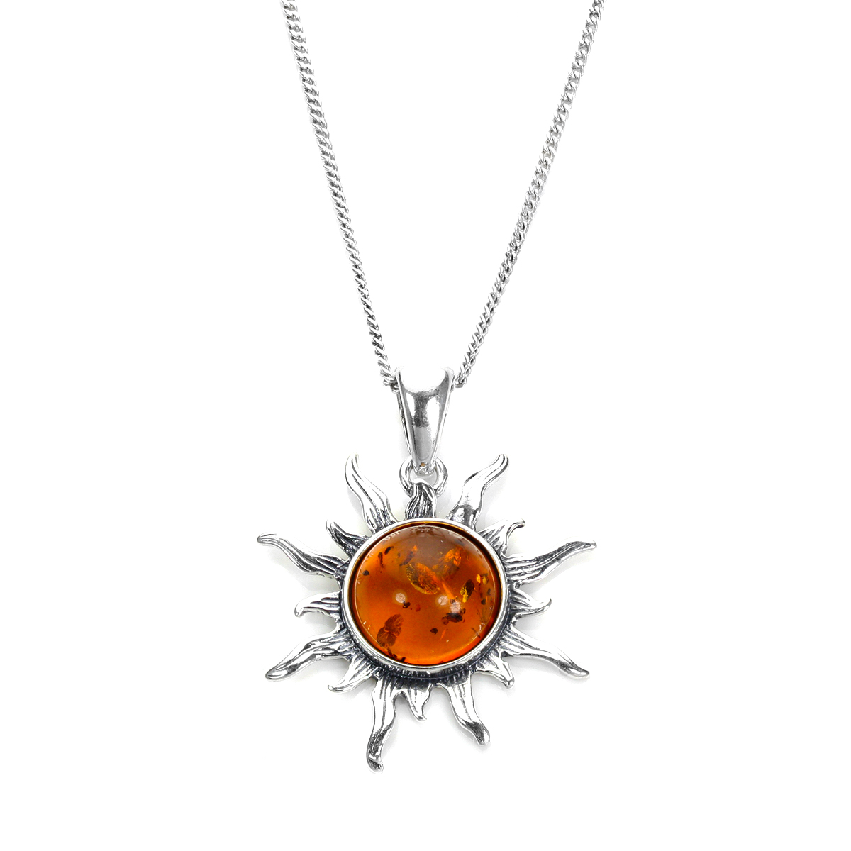 An image of Sterling Silver Baltic Amber Flaming Sun Pendant