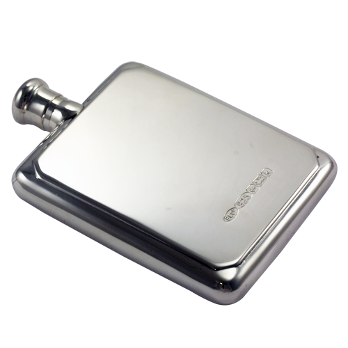 An image of Sterling Silver Rectangular Hallmarked Hip Flask